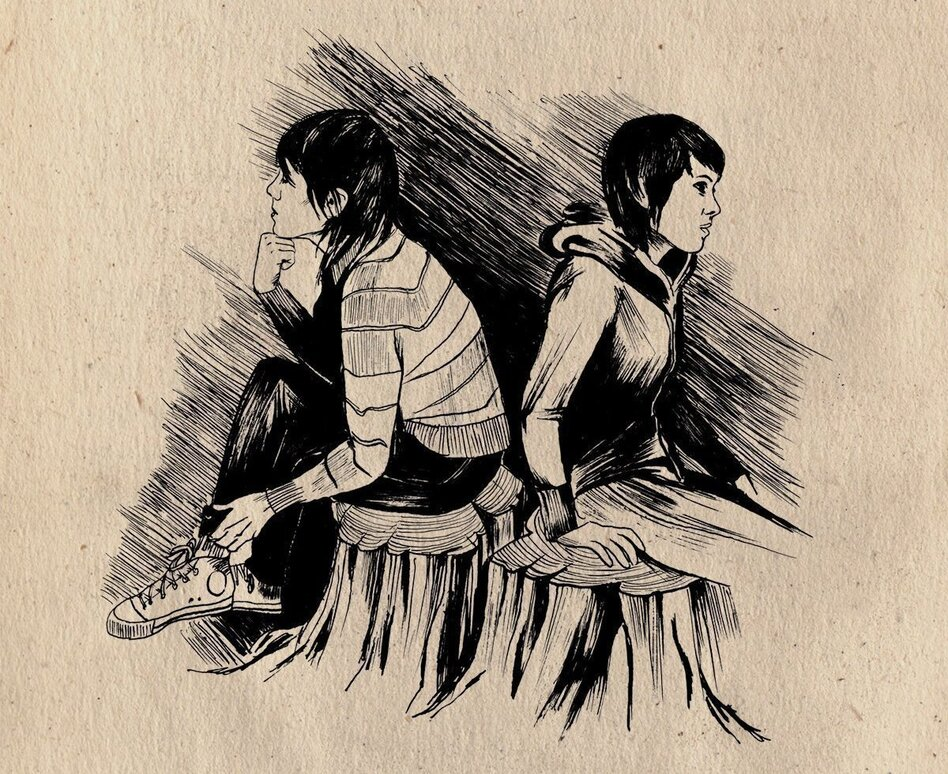 Sara and Tegan Quin as they appeared in <em>The Con</em>'s liner illustrations by Emy Storey. The 2007 album marked a critical turning point for the sisters and a touchstone for like-minded artists to follow. (Emy Storey/Courtesy of the artist)