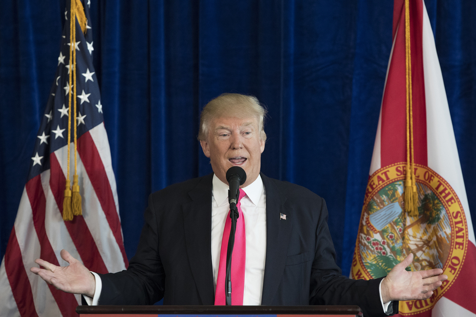 Then-Republican presidential candidate Donald Trump appeared to encourage Russia to continue hacking Democratic rival Hillary Clinton's emails at a press conference on July 27, 2016, in Doral, Fla. (Evan Vucci/AP)