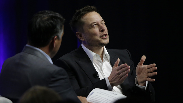Tesla and SpaceX CEO Elon Musk responds to a question by Nevada Republican Gov. Brian Sandoval during the third day of the National Governors Association