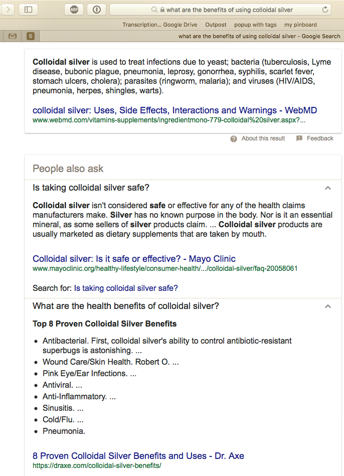 Google search result: What are the benefits of using colloidal silver?