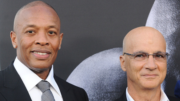 Dr. Dre (left) and Jimmy Iovine at the premiere of The Defiant Ones in Los Angeles.