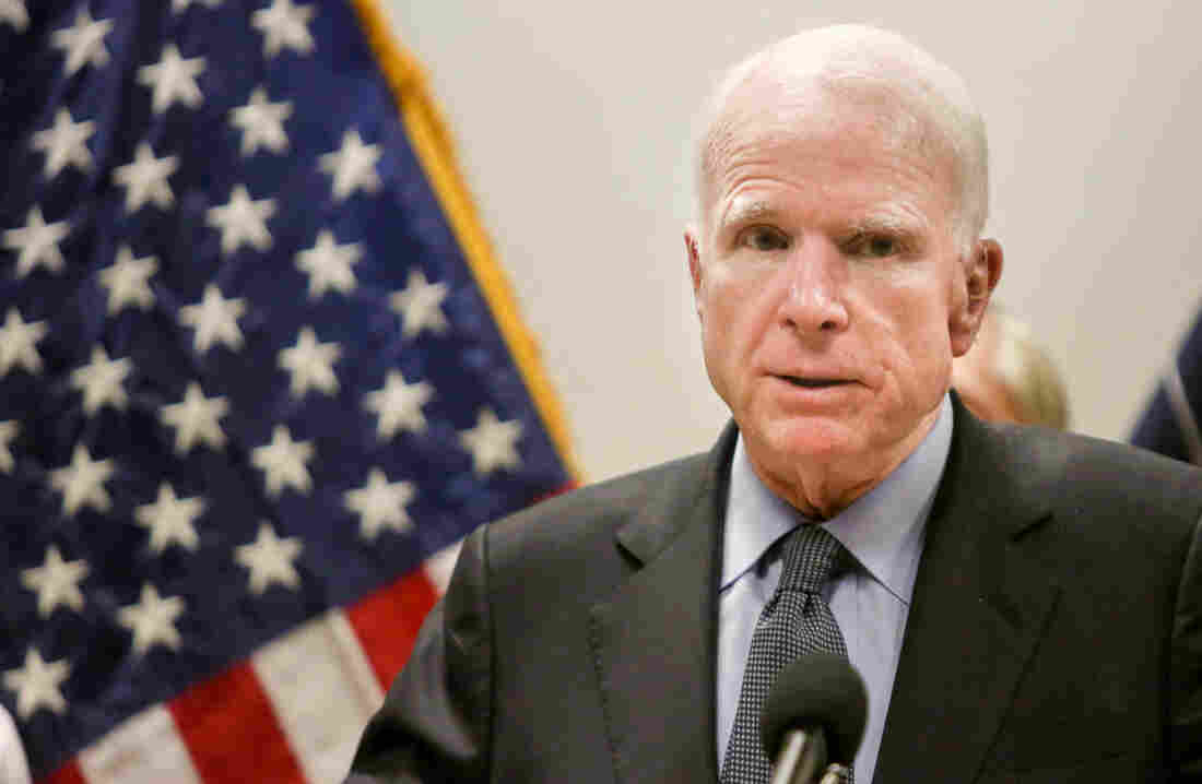 McCain at home after brain cancer diagnosis
