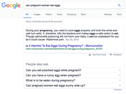 Google search result: Can pregnant women eat eggs?