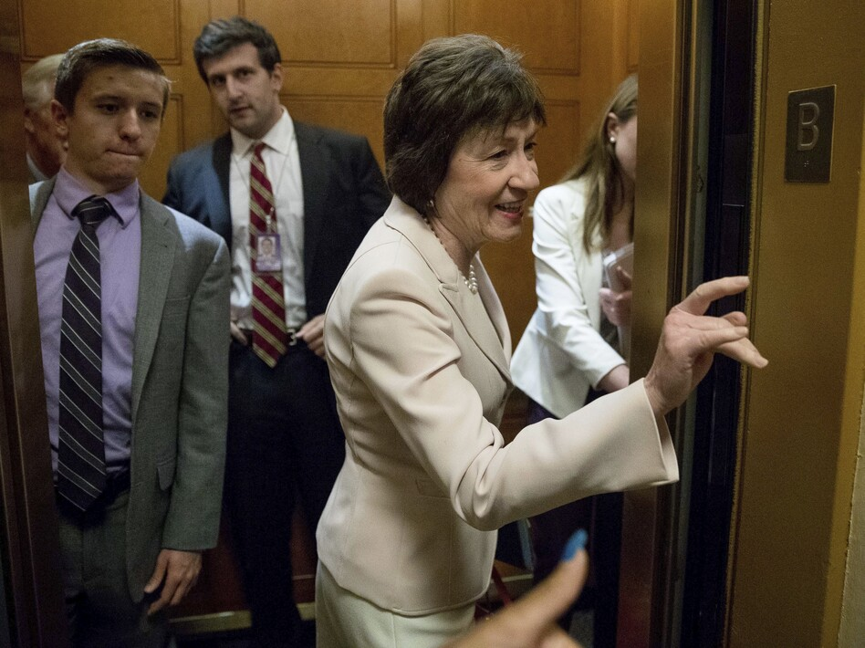 Sen. Susan Collins of Maine arrives on Capitol Hill on Tuesday. She is one of three Republicans who said publicly that she opposes a GOP plan to repeal Obamacare without a replacement. (Andrew Harnik/AP)