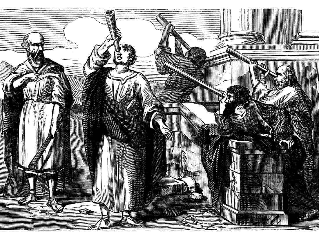Astronomers looking to the sky — Scanned 1870 Engraving