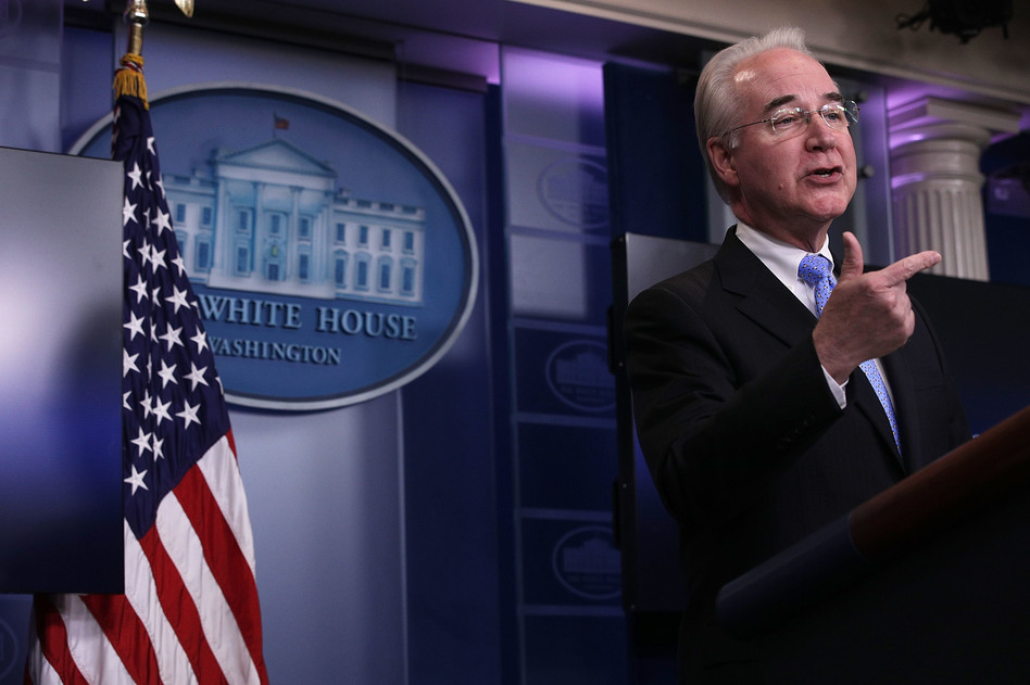 U.S. Secretary of Health and Human Services Tom Price speaks during the White House daily press briefing March 7, 2017 at the White House in Washington, DC. Secretary Price answered questions on the new healthcare bill during the briefing. (Alex Wong/Getty Images)