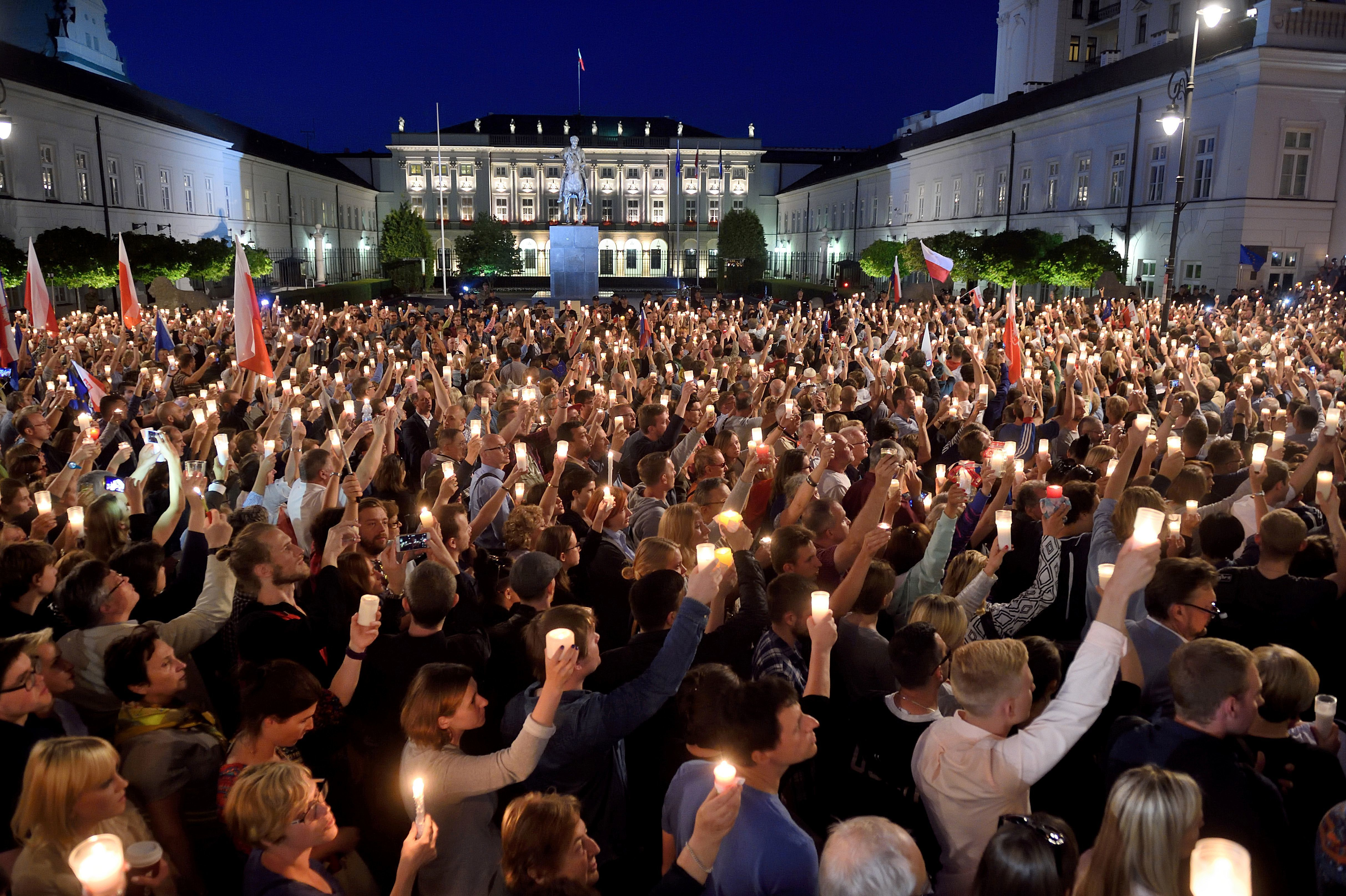 Crowds Gather in Warsaw to Protest Judicial Reforms