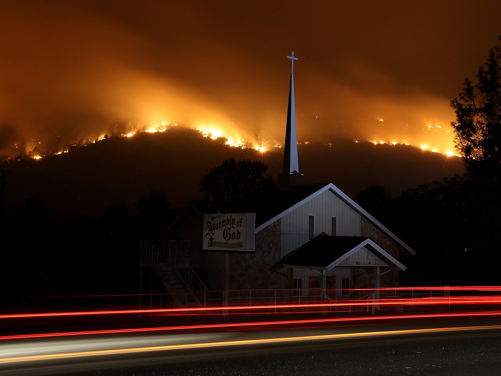 The Detwiler Fire burns in the hills above Mariposa on Tuesday. It has burned more than 45,000 acres and is just 7 percent contained, as of Wednesday morning local time.     (Justin Sullivan/Getty Images)