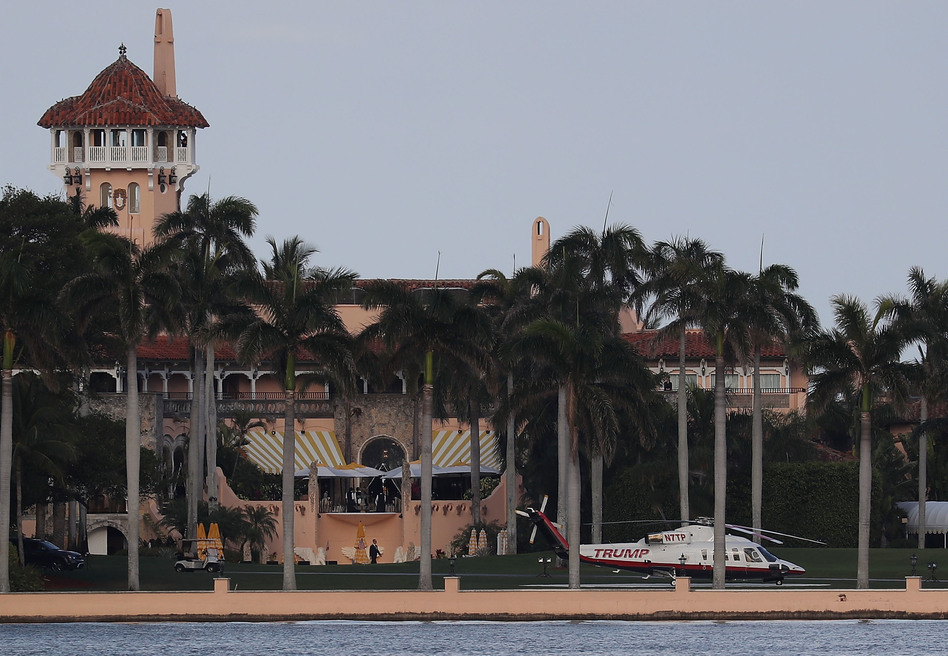 The Trump helicopter is seen at the Mar-a-Lago resort in Palm Beach, Fla., in April. The president's club is requesting foreign worker visas to staff up during peak season. (Joe Raedle/Getty Images)