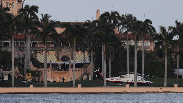 The Trump helicopter is seen at the Mar-a-Lago resort in Palm Beach, Fla., in April. The president