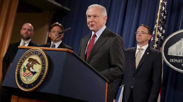 """Attorney General Jeff Sessions announces the takedown of AlphaBay, a massive darknet marketplace """"used to sell deadly illegal drugs"""" and procure stolen and counterfeit goods, according to the Justice Department. He delivered the news to reporters in Washington, D.C., on Thursday."""