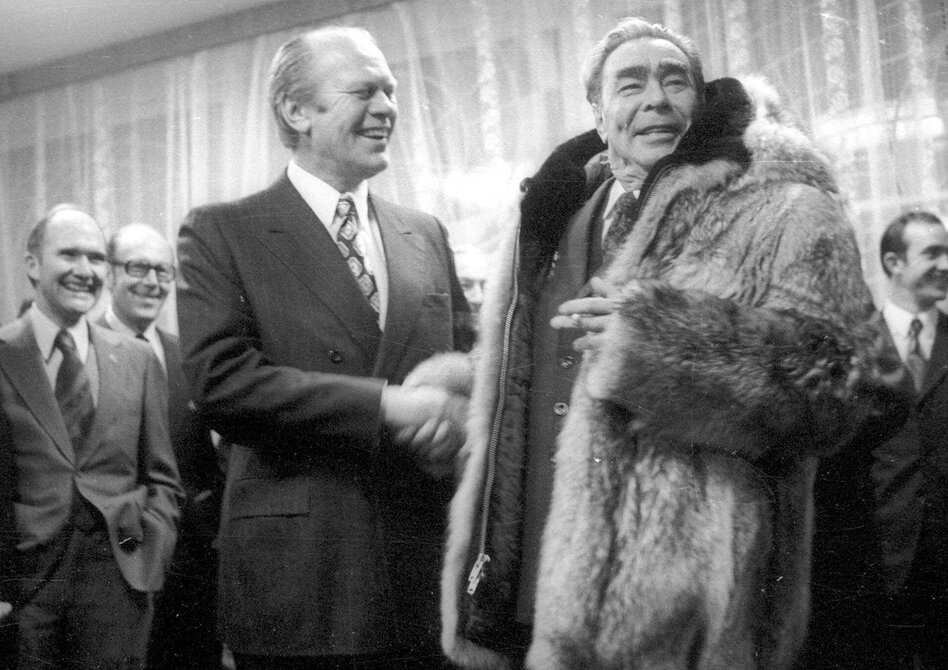 President Gerald Ford shakes hands with Soviet leader Leonid Brezhnev on Nov. 24, 1974, in a meeting in the Soviet city of Vladivostok. Several weeks later, Ford signed a law that would place restrictions on Soviet trade with the U.S. for nearly four decades. (AP)