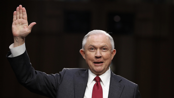 "Attorney General Jeff Sessions as he was sworn-in on Capitol Hill in Washington, D.C., in June. He testified that suggestions that he colluded with Russia to interfere in the U.S. presidential election was a ""contemptible lie."""