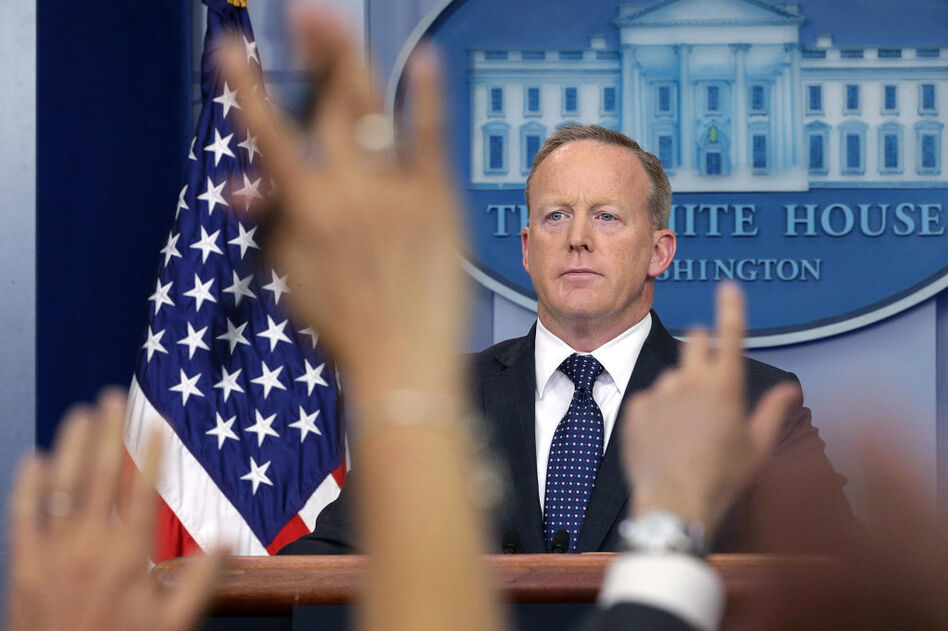 White House press secretary Sean Spicer briefs the media in June. He announced Friday that he was stepping down from his job in the Trump administration and would continue his service through August. (Win McNamee/Getty Images)