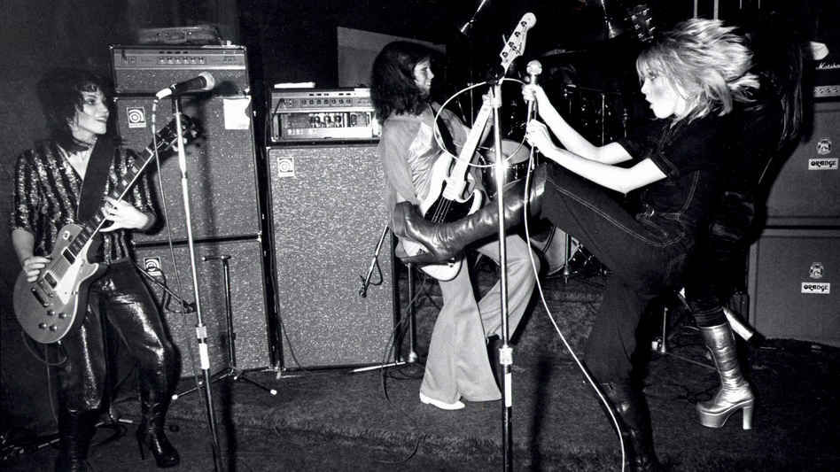 The Runaways perform at CBGB's in New York City in August 1976.