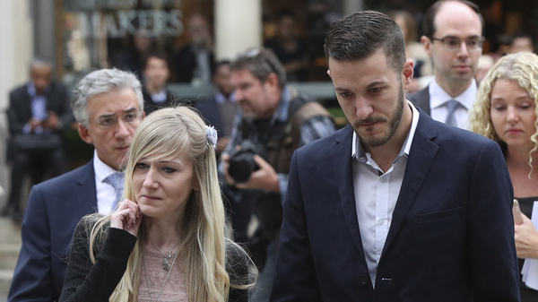 Chris Gard and Connie Yates, the parents of critically ill infant Charlie Gard, as they arrived at a court session in London on Monday.