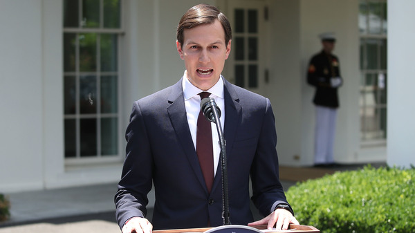 White House senior adviser and Trump son-in-law Jared Kushner reads a statement Monday in front of the West Wing of the White House after meeting behind closed doors with the Senate Intelligence Committee about Russian meddling in the 2016 presidential election.