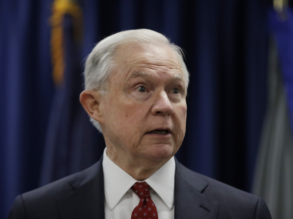 Attorney General Jeff Sessions speaks at the U.S. Attorney's Office in Philadelphia on Friday. (Matt Rourke/AP)