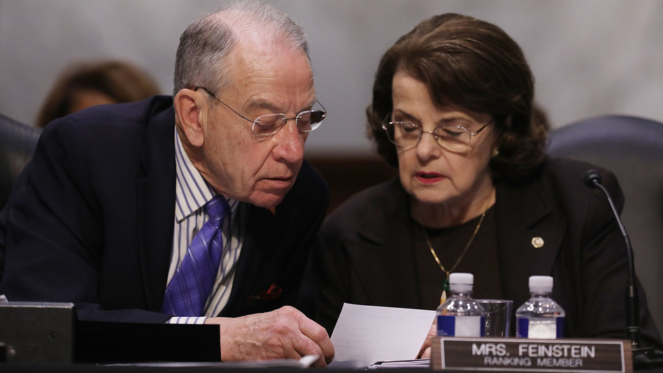 Senate Judiciary Committee Chairman Charles Grassley, R-Iowa, and ranking member Sen. Dianne Feinstein, D-Calif., on Capitol Hill on April 3, 2017. (Chip Somodevilla/Getty Images)