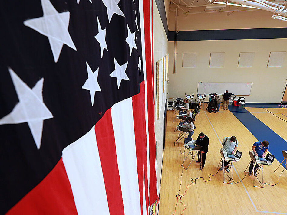 Voters at an elementary school in Provo, Utah on Nov. 8, 2016. (George Frey/Getty Images)