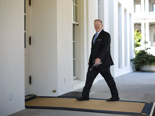 Former White House Press Secretary Sean Spicer entering the White House in July.     (Chip Somodevilla/Getty Images)