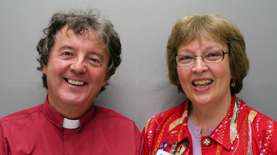 The Rev. Noel Hickie was working as a hospital chaplain when he met Marcia Hilton, a bereavement counselor at a hospital in Eugene, Ore. For 25 years they often worked together on hospice teams. (Courtesy of StoryCorps)