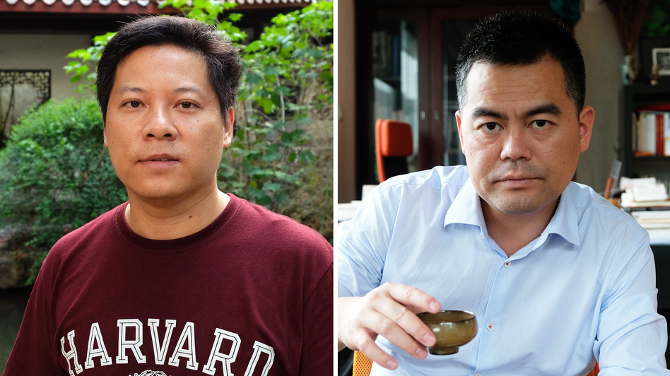 Luo Changping, left, and Deng Fei. (Anthony Kuhn/NPR)