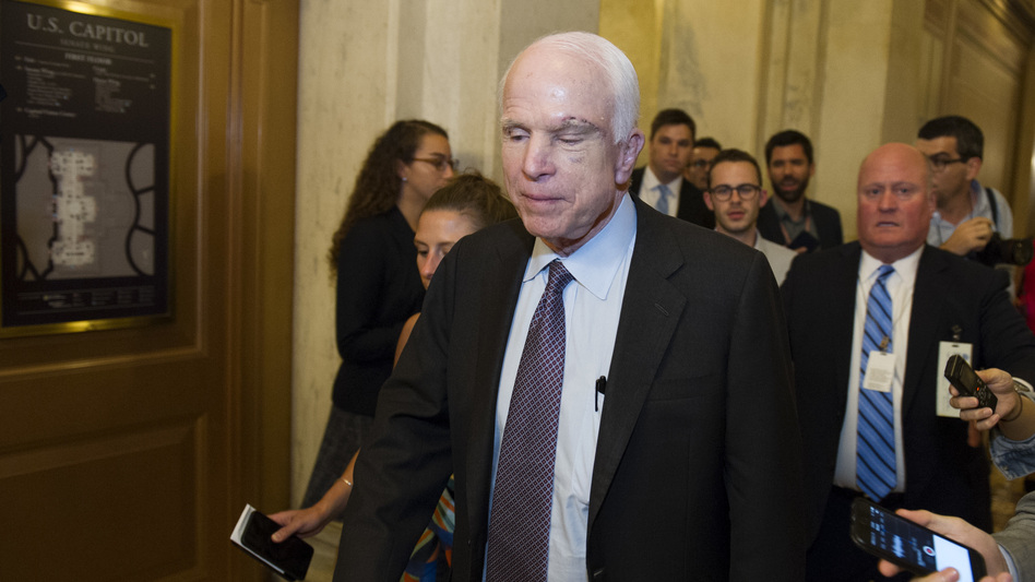 "After casting a ""no"" vote, McCain left the Capitol and declined to talk with reporters."