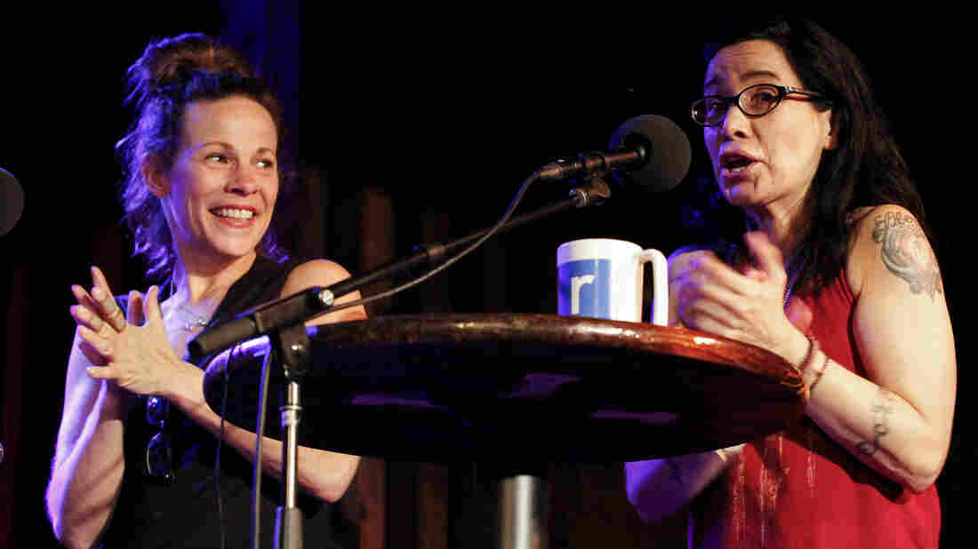 Lili Taylor and Janeane Garofalo appear on Ask Me Another at the Bell House in Brooklyn, New York.