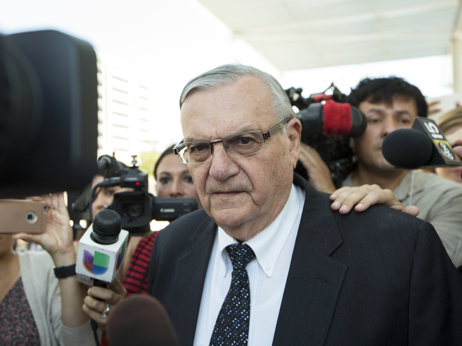 Joe Arpaio leaves a federal courthouse in Phoenix earlier this month. The former Maricopa County sheriff was found guilty Monday of criminal contempt, a charge that carries a maximum sentence of six months in jail. (Angie Wang/AP)