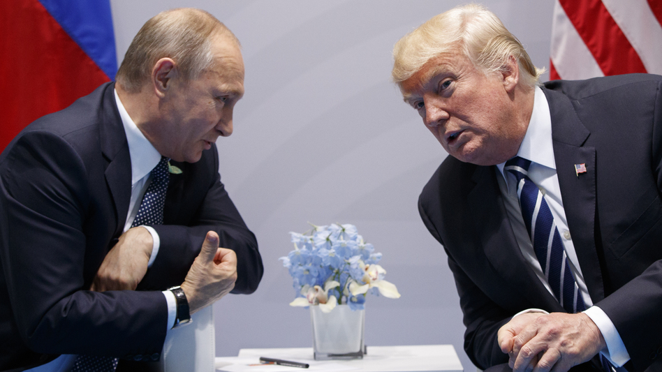 President Trump meets with Russian President Vladimir Putin at the Group of 20 summit in early July. It's unclear how the sanctions Trump signed into law Wednesday will affect the personal relationship between the two men. (Evan Vucci/AP)