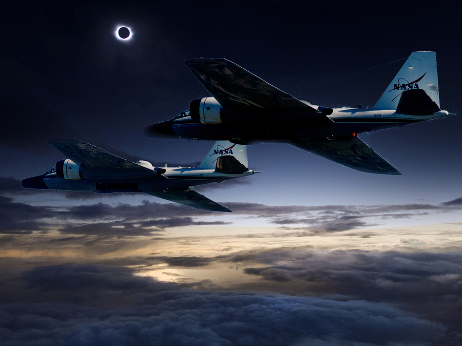 A NASA illustration showing twin WB-57F research planes tracking the eclipse over North America. (Bardur Eklund/NASA/Faroe Islands/SwRI)