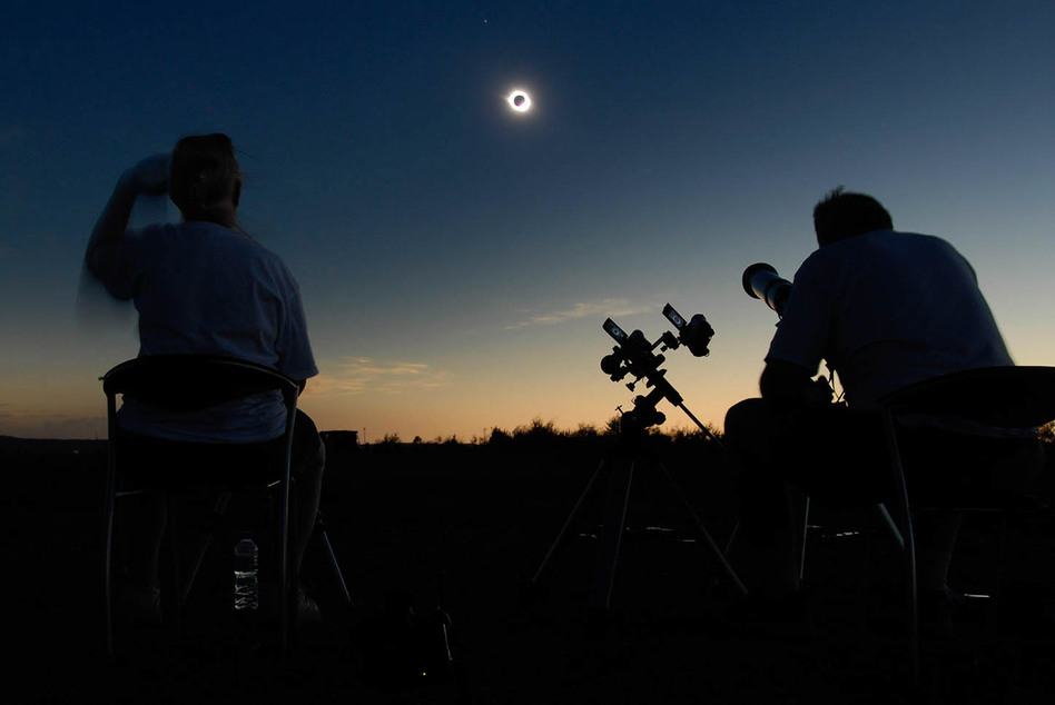 Retired astrophysicist Fred Espenak (right) and his wife, Patricia, photographed a total solar eclipse from Jinta, China, on Aug. 1, 2008. He has witnessed 27 such events and plans to be in Casper, Wyo., on Aug. 21 — depending on the forecast. (Courtesy of Fred Espenak)