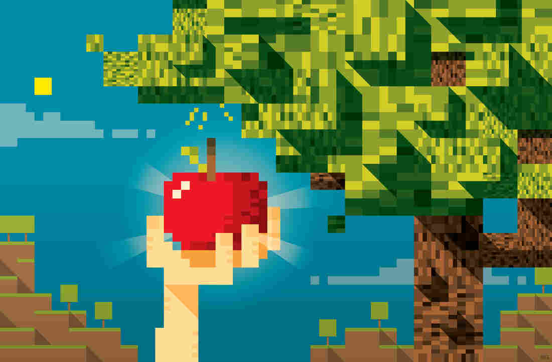 Pixelated hand grabbing an apple off a tree