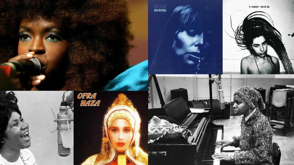 Clockwise from upper left: Lauryn Hill, Joni Mitchell (<em>Blue </em>album cover), PJ Harvey (<em>Rid of Me</em> album cover), Nina Simone, Ofra Haza (<em>Fifty Gates of Wisdom </em>album cover), Aretha Franklin.