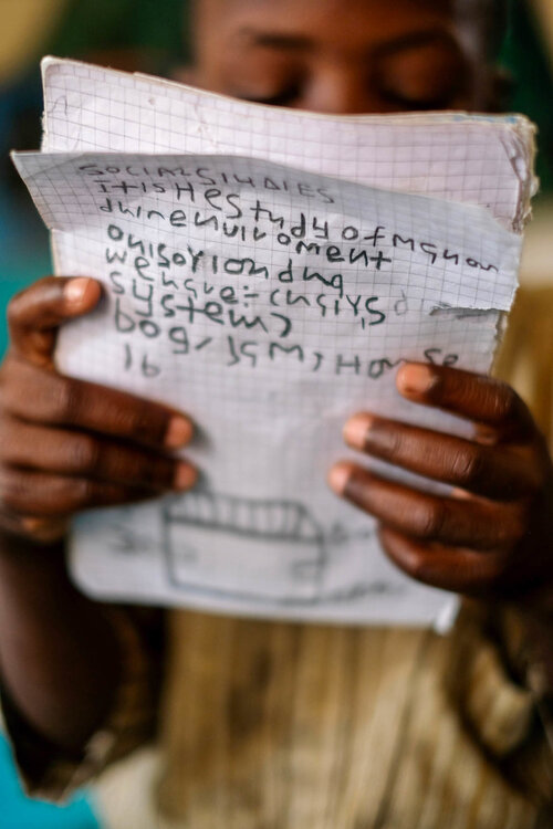 Now attending school, the boy is learning English and can count up to 30.     (Jide Adeniyi-Jones for NPR)