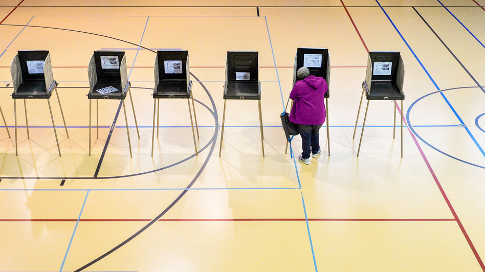 A woman votes on Nov. 8 in Durham, N.C. The state was a key battleground in a presidential race where Russian interference was already a huge concern. (Sara D. Davis/Getty Images)