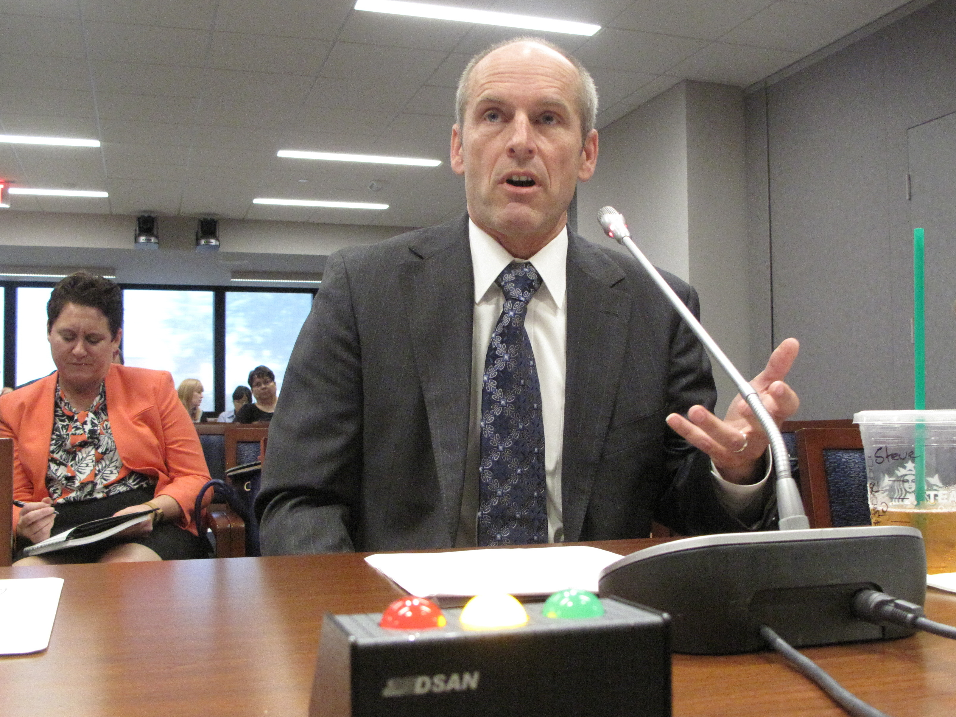 SawStop founder Steve Gass testifies at a Consumer Product Safety Commission hearing. (Chris Arnold/NPR)