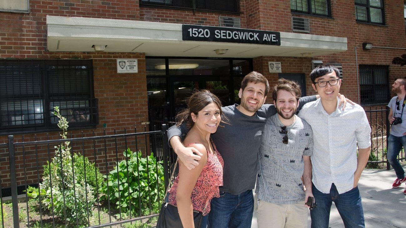 The Doodle team, Perla Campos, Kevin Burke, Pedro Vergani and David Lu, standing in front of hip-hop's birthplace, 1520 Sedgwick Avenue.     (Google)