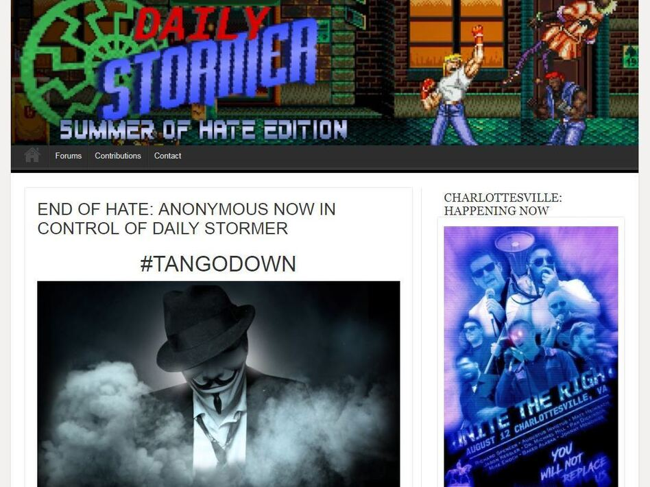 The Daily Stormer site had a story that claimed to be written by hackers and gave the site 24 hours before it would be deleted — the same deadline set by GoDaddy. (Screenshot by NPR)