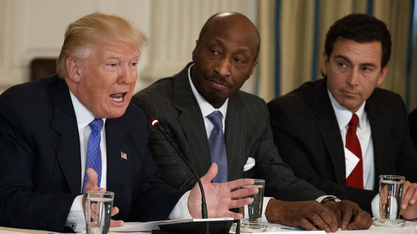 President Trump speaks during a meeting with manufacturing executives at the White House in February, including Merck