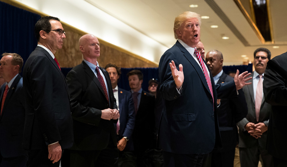 President Trump speaks to reporters in Trump Tower in New York City on Tuesday. (Drew Angerer/Getty Images)