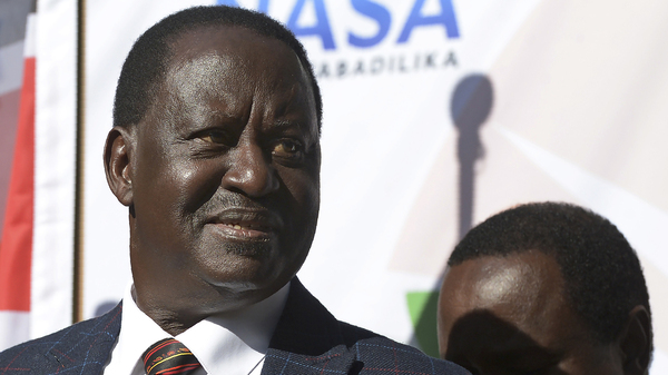 Kenyan opposition leader Raila Odinga addresses the media Wednesday at the offices of his National Super Alliance, or NASA, coalition in Nairobi. Odinga said he would take his allegations of electoral fraud to the country