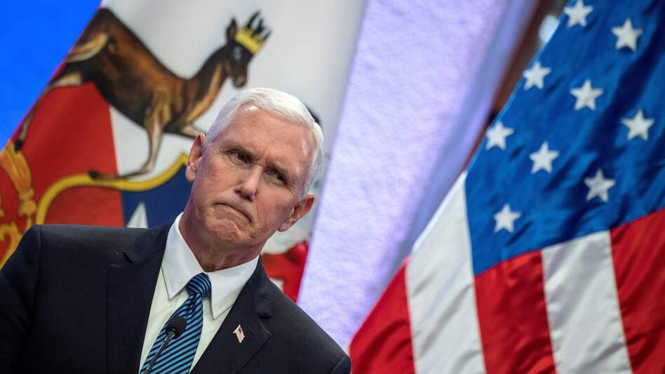 """Vice President Pence, speaking in Chile on Monday, said the """"president has been clear on this tragedy and so have I"""" but did not address the president's reversal on the white nationalist protesters. (Martin Bernett/AFP/Getty Images)"""