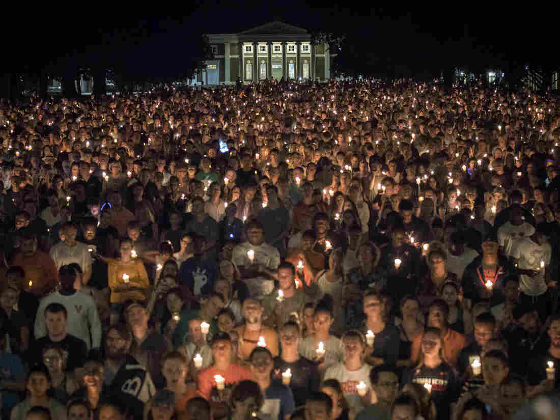 Thousands gathered on the lawn at UVA Wednesday night.