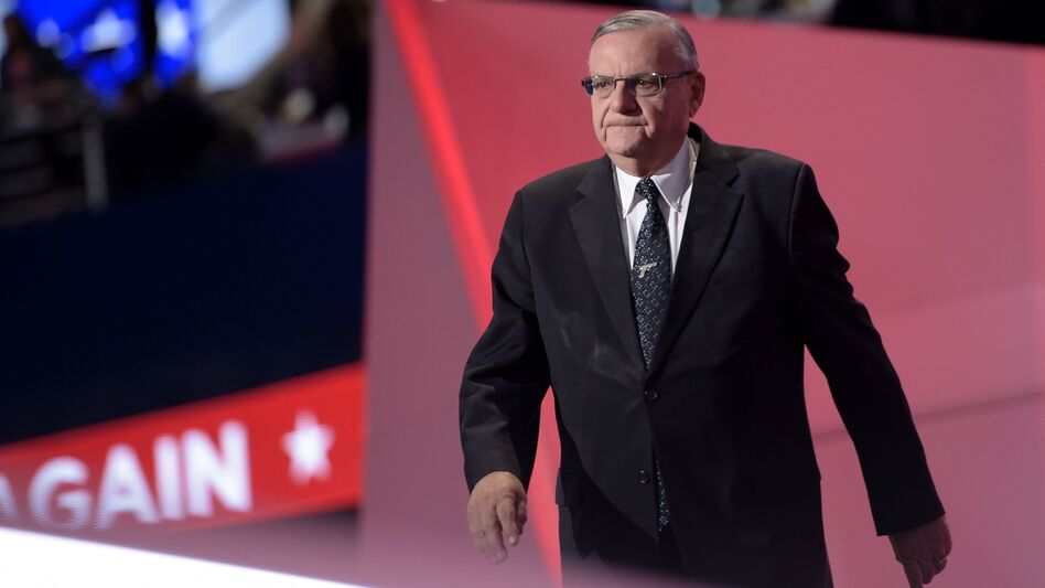 Arizona Sheriff Joe Arpaio spoke in support of then-candidate Donald Trump at the Republican National Convention last summer. (Brendan Smialowski/AFP/Getty Images)