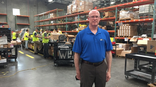 Mark Holohan, solar division manager at Wilson Electric, stands in his company