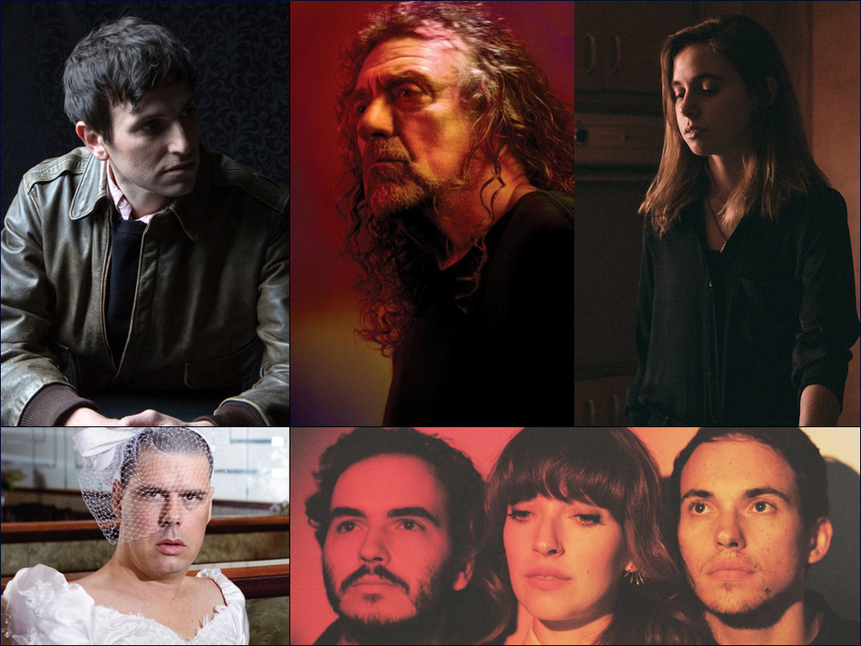 Clockwise from upper left: Kip Berman of The Pains Of Being Pure At Heart, Robert Plant, Julien Baker, Daughter, Liars
