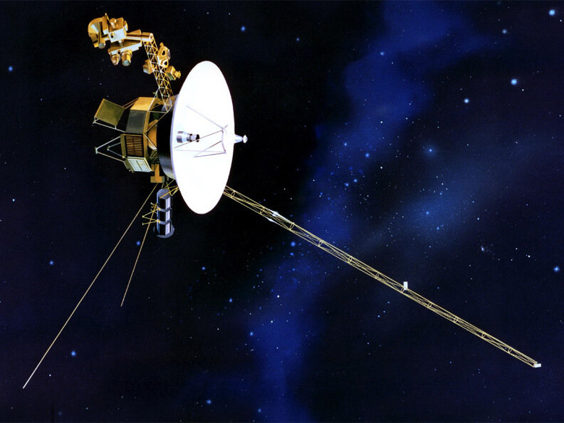 artists rendition of voyager 1 in space
