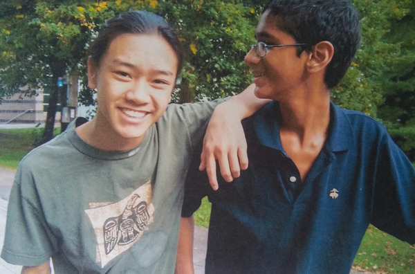 The author Angus Chen (left) and his best friend David Thomas as high school students.